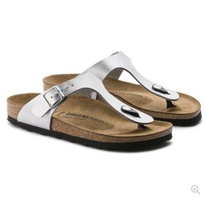Silver leather Birkenstock sandals